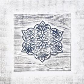 Toile peinte relief carreaux de ciment - Fleur étoilée