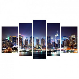 CITY BY NIGHT Tableau Multi Panneaux  urbain 110x60cm