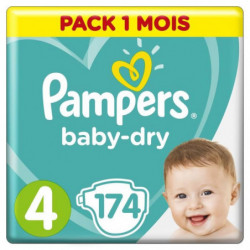 PAMPERS Baby-Dry Taille 4, 9-14 kg - 174 Couches