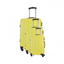 BAG STONE Set de 3 Valises 4 roues S/M/L Jaune Lewis
