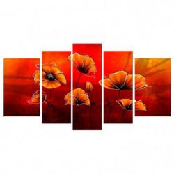 COQUELICOTS Tableau Multi Panneaux  110x60 cm