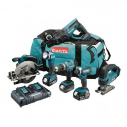 MAKITA Pack 6 machines DLX6068PT avec 3 batteries 18V 5Ah